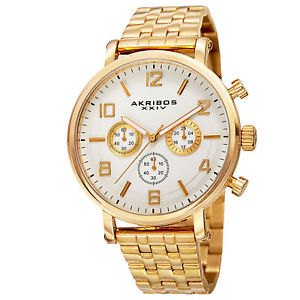 【送料無料】mens akribos xxiv ak800yg quartz chronograph goldtone stainless steel watch
