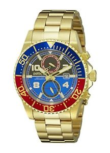 【送料無料】invicta mens pro diver chrono 200m blue, red, gold stainless steel watch 18519