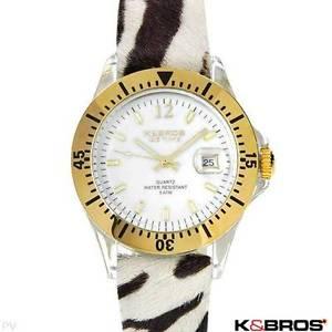 【送料無料】k and bros made in italy brand ladies date leather watch
