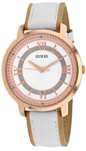 【送料無料】guess womens montauk quartz rose gold stainless steelleather watch w0934l1