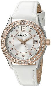 【送料無料】kenneth cole york 10020850 womens analog watch white leather strap