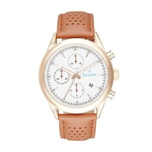 elliot chronograph watch with brown and grey genuine leather with stainless