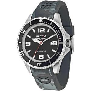 【送料無料】orologio uomo sector 230 r3251161027 silicone grigio nero sub 100mt
