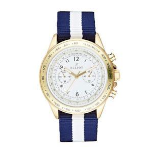 【送料無料】elliot white and navy striped nylon watch with gold stainless steel case and