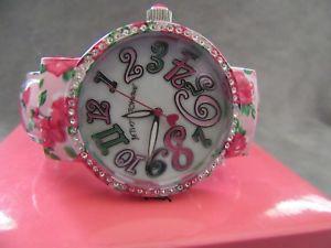 【送料無料】betsey johnson bj0060102 womens floral crystal embellished 38mm cuff watch nwb