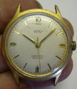 【送料無料】vintage gents automatic roxy 25 jewel wristwatch gold plated stainless steel