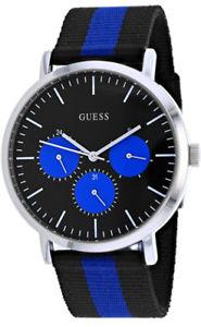 【送料無料】guess mens slate quartz chronograph stainless steelnylon watch w1045g1