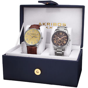 akribos xxiv ak972sss men's leather strapstainless steel bracelet watch set