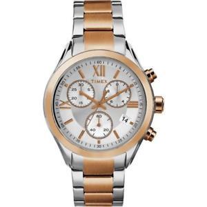 【送料無料】orologio timex city tw2p93800 chrono bracciale acciaio bicolor ros uomo donna