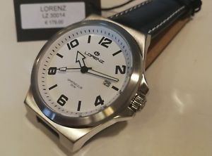 【送料無料】orologio uomo lorenz,sporting club,bianco,cinturino in pelle,40 mm,solo tempo