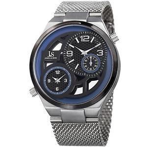 【送料無料】mens joshua amp; sons jx111ssbu two time zone small seconds mesh bracelet watch
