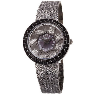 【送料無料】womens burgi bur118bk floating crystals mother of pearl hammered bracelet watch