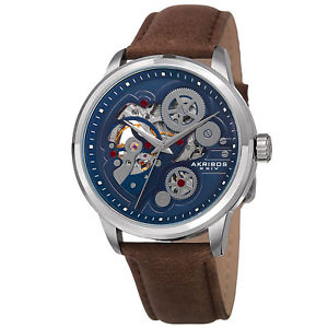【送料無料】mens akribos xxiv ak855ssbr skeleton automatic movement leather strap watch