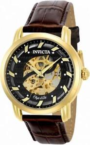 【送料無料】invicta objet d art 22634 mens round skeleton automatic brown leather watch