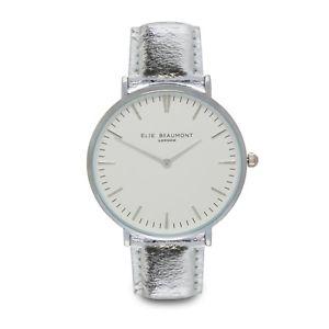 【送料無料】elie beaumont aw18 silver vegan oxford watch