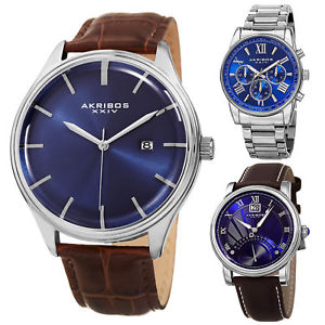 top akribos xxiv blue madness best selling leather bracelet watches