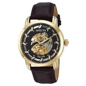 【送料無料】invicta 22634 mens brown leather strap automatic watch