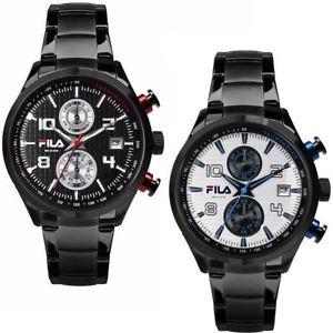 【送料無料】orologio cronografo uomo fila 38008 cassa in acciaio pvd nero datario silver