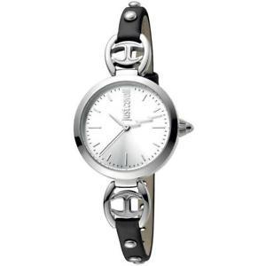 【送料無料】orologio donna just cavalli logo jc1l009l0015 vera pelle nero silver slim