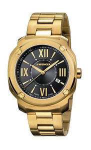【送料無料】wenger mens edge romans quartz 100m gold tone stainless steel watch 011141123