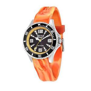 【送料無料】orologio sector 230 r3251161022 uomo silicone arancione nero sub 100mt