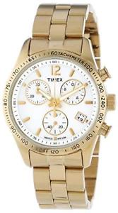 【送料無料】timex womens gold stainless steel quartz watch white display amp; boxed