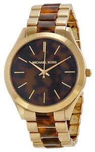 【送料無料】michael kors mk 4284 ladies gold tone slim runway watch rrp 229