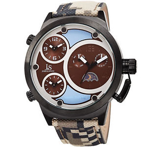 【送料無料】mens joshua amp; sons jx131br triple time zone moon phase quartz camouflage watch
