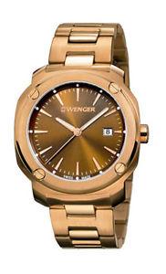 【送料無料】wenger mens edge index 100m rose gold tone stainless steel watch 011141114