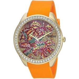【送料無料】guess womens crystals orange silicone strap 45mm watch u0960l2 brand