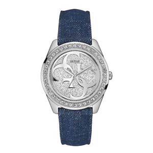 【送料無料】guess g twist blue denim silver crystal watch w0627l1