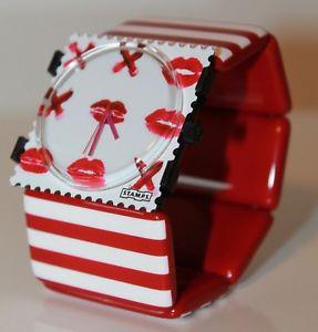 【送料無料】stamps uhr gossip girl 104811 stamps belta tripes red amp; white
