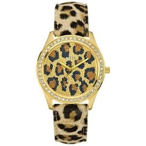 【送料無料】 guess catwalk leopard gold swarovski lady leather strap watch u85109l1 nwt