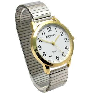 【送料無料】ravel mens easyread quartz watch with expanding bracelet 2tone 47 r0232231