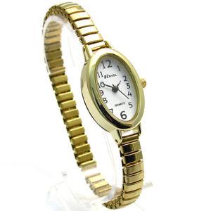 【送料無料】ravel ladies easy read oval quartz watch expanding bracelet gold 01 r0201012