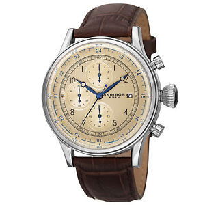 【送料無料】 mens akribos xxiv ak798ssbr quartz chronograph brown leather strap watch