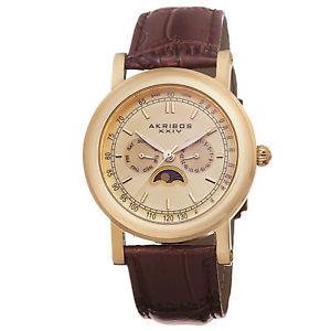 【送料無料】mens akribos xxiv ak632yg quartz multifunction ampm brown leather strap watch