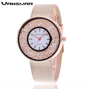 【送料無料】vansvar stainless steel quartz watch for women decorated with crystals