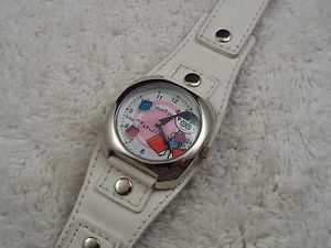 【送料無料】david amp; goli white leather buy me stuff silvertone watch a35