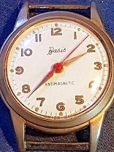 【送料無料】vintage basis antimagnetic swiss made manual wind up watch gold plated