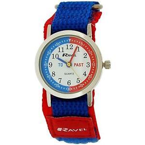【送料無料】ravel time teacher kids boys blue red easy fasten strap watch r150755