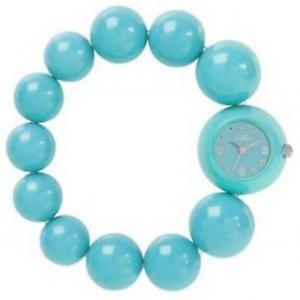 【送料無料】reflex ladies turquoiseblue analogue large bead fashion wrist watch bbr003