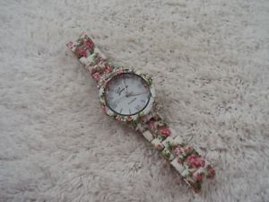 womens geneva pink rose white watch d50