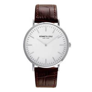 【送料無料】kenneth cole kc50507001 mens classic brown strap watch