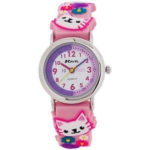 【送料無料】ravel time teacher girls 3d kitten pink rubber strap watch telling time award