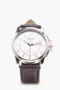 boohoo mens classic watch in silver size one size