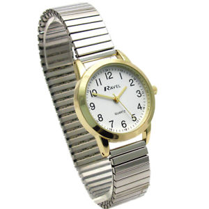 【送料無料】ravel ladies easyread quartz watch expanding bracelet 2tone 48 r0232232