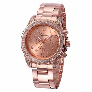 【送料無料】rose gold plated rhinestone crystal encrusted ladies fashion watch birthday gift