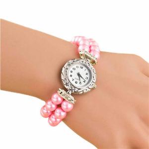 【送料無料】elegant pink czech glass pearl 2 strand beaded wrist watch