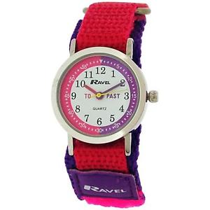 【送料無料】ravel time teacher pink purple nylon easy fasten watch telling time award